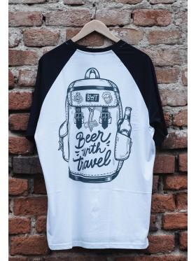 Baseballové tričko s logem BWT-  bílá / tmavě modrá